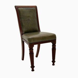 Bureau et Chaise d'Appoint Victorien Antique en Bois Massif et Cuir