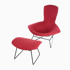 Model Bird Armchair with Ottoman by Harry Bertoia for Knoll, 1970s, Set of 2