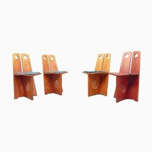 Schwedische Esszimmerstühle aus Kiefernholz von Gilbert Marklund für Furusnickarn Ab, 1970er, 4er Set