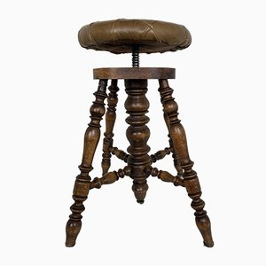 Antique Victorian Adjustable Piano Stool with Patchwork Leather Seat