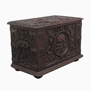 Boîte à Bûches en Chêne Sculpté, 19ème Siècle