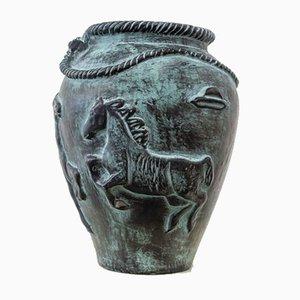 Französische Mid-Century Vase aus Keramik mit Pferde-Dekor