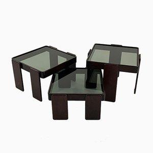 Tavolini ad incastro di Gianfranco Frattini per Cassina, anni '70