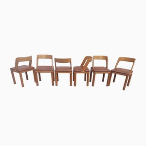 Vintage Leather & Wooden Chairs, 1960s, Set of 6