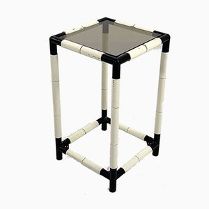 High Black and White Side Table, 1970s