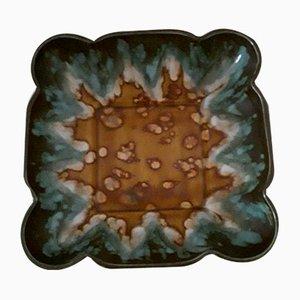 Quadratische Vintage Art Deco Keramik Obstschale von Jaspe Longwy, Frankreich