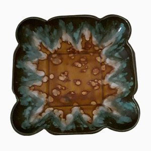 Vintage Art Deco Square Ceramic Fruit Bowl from Jaspe Longwy, France