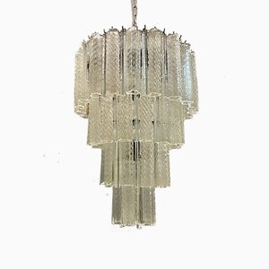 Large Mid-Century Murano Glass Tube Prism Chandelier