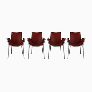 Red Leather and Aluminium Duna Chairs by Jorge Pensi for Cassina, 1990s, Set of 4