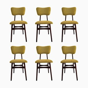 20th Century Chairs in Mustard Wool and Wood, 1960s, Set of 6