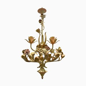 Italian Tole and Ceramic Rose Chandelier