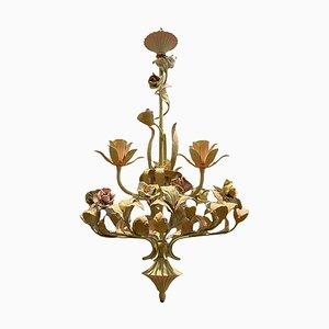 Italienischer Kronleuchter aus Keramik mit Rose