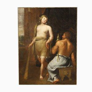 Antikes italienisches mythologisches Gemälde, Herkules und Onfale, 17. Jh