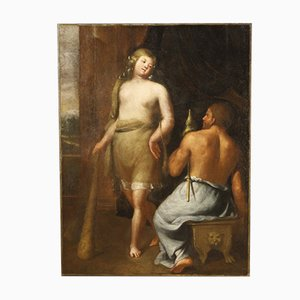 Antique Italian Mythological Painting, Hercules and Onfale, 17th Century