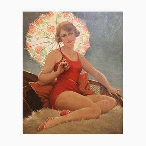 Art Deco Badende mit Sonnenschirm von F. Martin-Kavel, Frankreich, 1920er