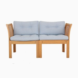 2-Seater Sofa in Oak and Fabric by Illum Wikkelsøe for CFC Silkeborg