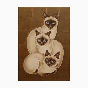 3 Chats Siamois, Huile sur Panneau par Jacques Nam, France, Art Déco, 1930s