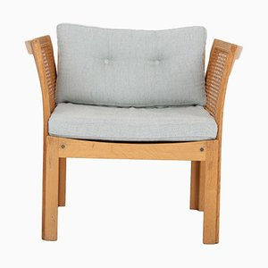 Club Chair in Oak and Fabric by Illum Wikkelsøe for CFC Silkeborg