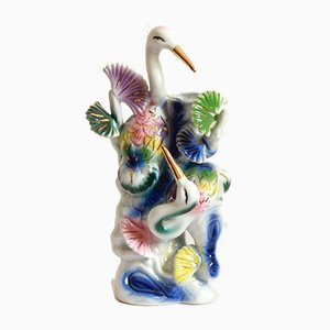 Art Deco Porcelain Aironi Vase, Italy, 1940s