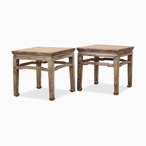 Distressed Gray Lacquer Stools, Set of 2