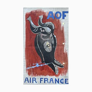 Poster Project for Air France, Watercolor on Paper, Paul Colin, France, 1950s