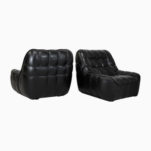 Black Leather Lounge Chairs, France, 1970s, Set of 2