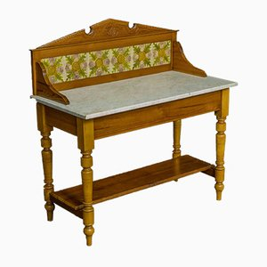 Late Victorian Pine Washstand with Marble Top