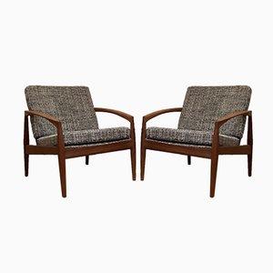 Paper Knife Lounge Chairs by Kai Kristiansen for Magnus Olesen, Denmark, 1950s, Set of 2