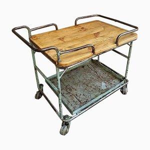 Carrello o tavolino industriale in acciaio e legno