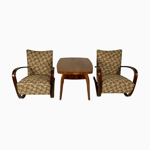 H 269 Armchairs and Table by Jindřich Halabala, 1930s, Set of 3