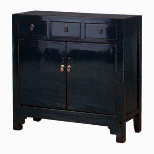 Dark Blue Lacquer Side Cabinet