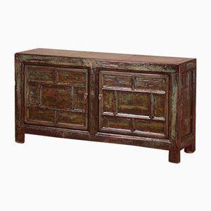 Distressed Green Lacquer Panelled Cabinet