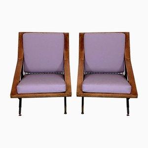 Mid-Century Italian Wood and Metal Armchairs, Set of 2