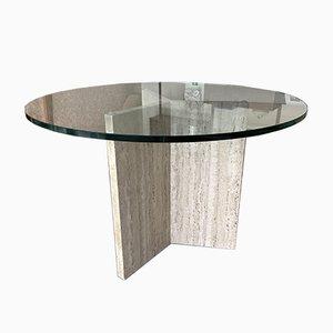 Travertin und Glas Esstisch, Italien