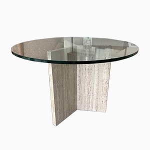 Travertine and Glass Dining Table, Italy