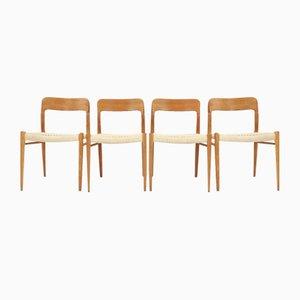 Modell 75 Esszimmerstühle aus Eiche & Original Seiden-Seil von Niels Otto Møller, 4er Set