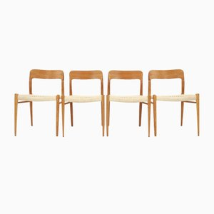 Oak and Original Silk Rope Model 75 Dining Chairs by Niels Otto Møller, Set of 4
