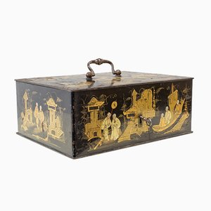 Metal Box with Chinoiserie Decorations, 19th Century