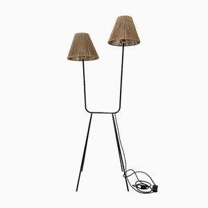 Vintage Metal and String Floor Lamp