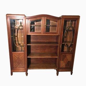 Walnut Inlaid Bookcase, 1900s
