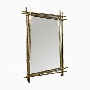 Mid-Century Italian Rectangular Brass Wall Mirror, 1950