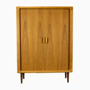 Danish Teak Cabinet with Tambour Doors from Dyrlund, 1970s
