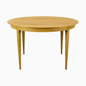Round Oak Dining Table with Central Extension, 1960s