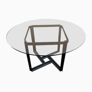 Table with Metal Base and Glass Top