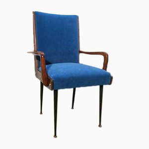 Solid Walnut Armchair with Black Iron Legs, Brass Details & Blue Velvet Fabric Attributed to Ico Parisi, 1950s