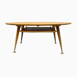 Low Coffee Table in Oak with Brass Details