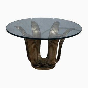 Mid-Century Italian School Round Brass and Glass Side Table, 1950s
