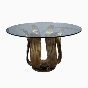 Mid-Century Italian School Round Brass and Glass Table, 1960s