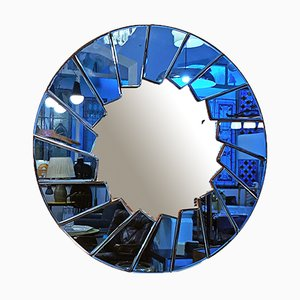 Italienischer runder italienischer Mid-Century Modern Spiegel in Blau mit Glasrahmen, 1960er