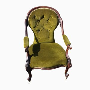 Mahogany Open Arm Nursing Chair in Green, 1900s